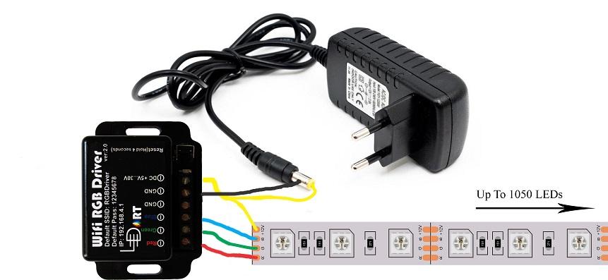 نحوه اتصال کنترلر وای فای ال ای دی RGB به ال ای دی